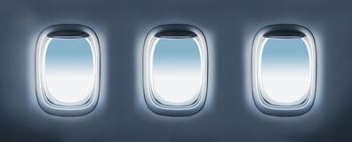 Three aircraft's porthole Stock Image