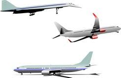 Three Airplane silhouettes Stock Image