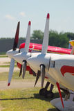 Three Airplanes. Propellers of three airplanes in a line royalty free stock photos