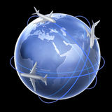 Three airplanes around the globe. An air travel concept illustration Royalty Free Illustration