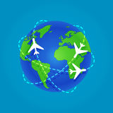 Three Airplanes flying around a globe. Isolated on blue background. Flat stock vector illustration - flights. EPS10 vector illustration