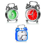 Three alarms. Three different alarms clock on a white background. Vector Stock Photography