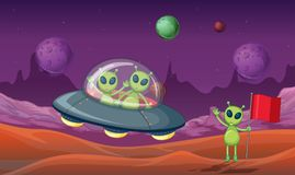 Three aliens discovered new planet. Illustration Stock Photo