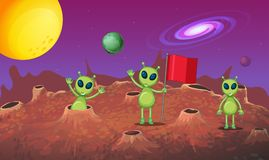 Three aliens exploring the new planet. Illustration Royalty Free Stock Photos