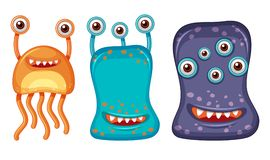 Three aliens with many eyes. Illustration Stock Photos