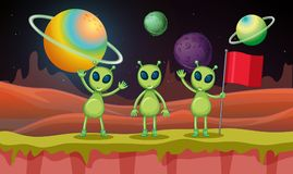 Three aliens in the space. Illustration Stock Images
