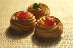 Three almond pastries Royalty Free Stock Images