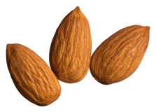 Three almonds isolated on white Royalty Free Stock Photo