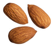 Three almonds isolated on white background Royalty Free Stock Image