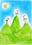 Three  Alpine ibexes, childs drawing, watercolor p Stock Photos