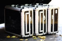 Aluminum suitcases for fragile objects and high security transportation Royalty Free Stock Photos