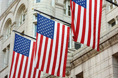 Three American Flags Royalty Free Stock Photo