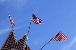 Three American flags Stock Photo
