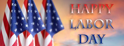 Labor day American flags. Three American flags in the sky. Labor day royalty free stock image
