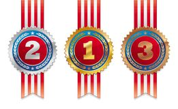 Three americans medals - gold, silver and bronze Stock Image
