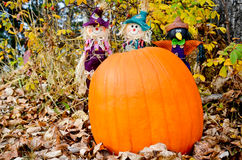 Three Amigos. A trio of scarecows behind a pumpkin in a forested fall setting Royalty Free Stock Photos