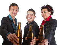 Three amigos partying with beer Royalty Free Stock Images