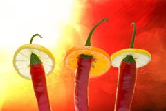Three amigos - the Red, the Hot, the Chili Stock Photos