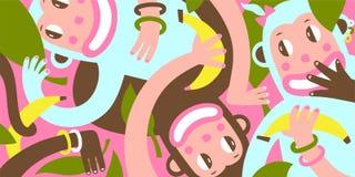 Three Amusing Monkey Graphic Background Royalty Free Stock Photo