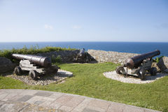 Three ancient cannons Stock Images