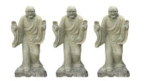 Three Ancient Chinese buddhist  sculture isolated on white backgrounds. Two Ancient Chinese buddhist  sculture isolated on white backgrounds.. Antique, art stock images