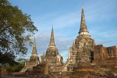 Three ancient stupas of the buddhist temple of Wat Phra Si Sanphet in the early morning. Ayutthaya, Thailand Royalty Free Stock Photos