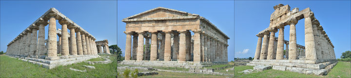 Three ancient temples at paestum Stock Photography