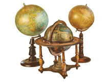 Three ancient world globes isolated on white Royalty Free Stock Images