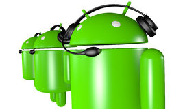 Three Android Robots Support Stock Image