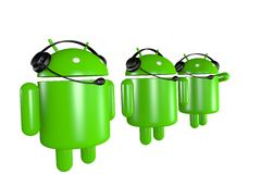 Three Android Robots Support. Three Android Robot characters with headphones & microphones royalty free illustration