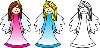 Three Angels. Three different little angels on white background. image vector illustration