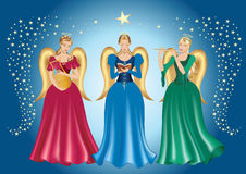 Three Angels. Illustration of three girly looking angels with golden wings in draped long dresses. The angel in red is playing the lyre, the angel in blue is Royalty Free Stock Images