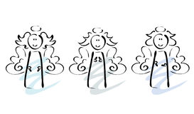 Three angels. Simple line-art illustration of three angels with slightly different hair and gestures (hand-drawn Stock Images