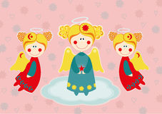 Three angels on a cloud Royalty Free Stock Photography