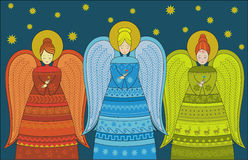 Three Angels Greeting card Stock Image