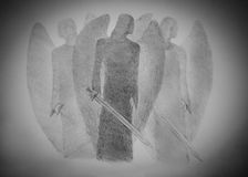 Three angels with a sword. Three light angel with a sword Royalty Free Stock Images