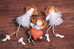 Three angels with valentine card Stock Photos