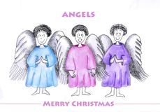 Three angels. Wish good nativity Royalty Free Stock Photography