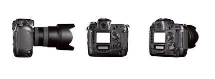 Three angle of Black digital camera - clipping path Royalty Free Stock Image