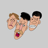 Three angry faces isolated. Royalty Free Stock Photo