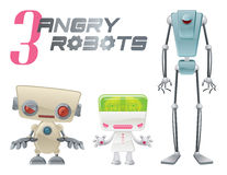 Three Angry Robots Royalty Free Stock Photos