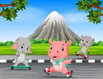 Three animals playing in the road with mountain scenery stock illustration