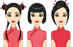 Three animation Asian girls with different hairstyles. Royalty Free Stock Photography