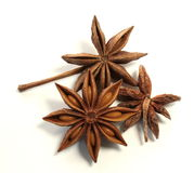 Three anis star. Bunch of anis stars on white background Royalty Free Stock Photos