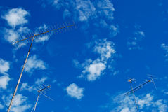 The three antenna are standing over sky Royalty Free Stock Photo