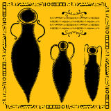 Three antic amphorae woodcut. Wine and olive oil vessels with frame and text box on yellow Royalty Free Stock Photography