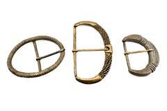 Three antique belt buckles Royalty Free Stock Image