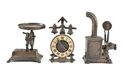 Three antique object. S isolated on white Royalty Free Stock Photography