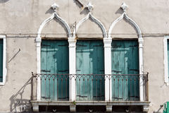 Three antique window in venice Royalty Free Stock Image