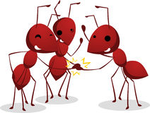 Three Ants team shaking teamwork hands Stock Photo